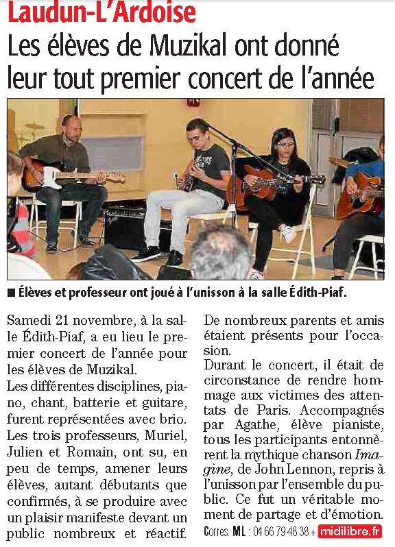 Article midi libre concert eleves 2015